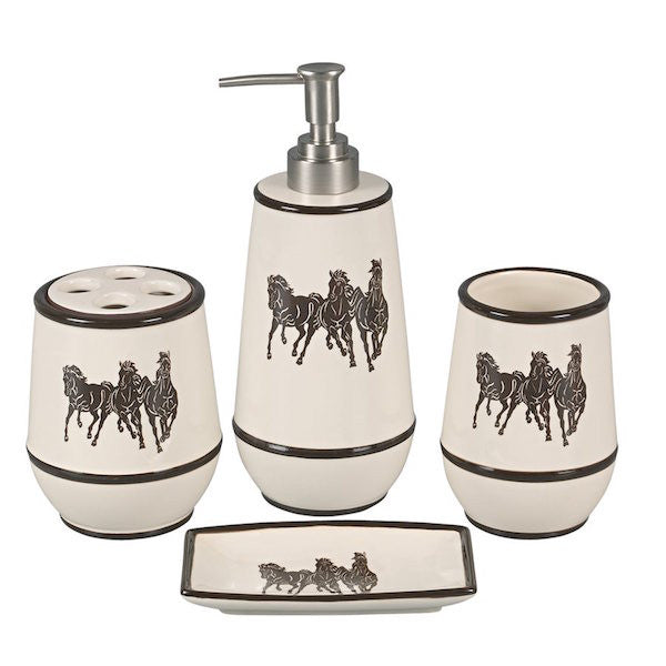 4PC Horses Bathroom Set by HiEnd Accents | The Cabin Shack