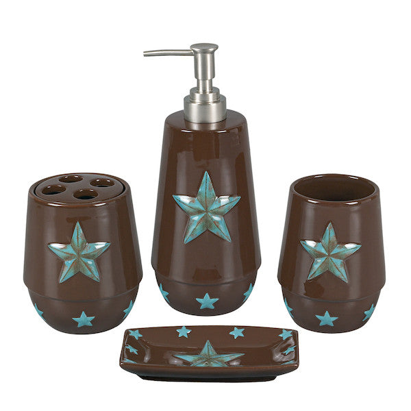 4PC Turquoise Star Bathroom Set | The Cabin Shack