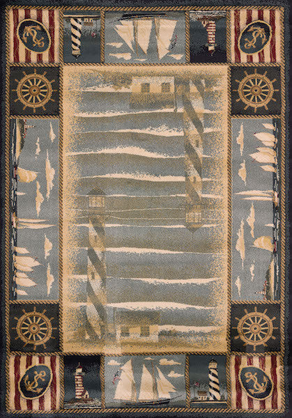 Yachtsmen Blue Rustic Rug Collection | The Cabin Shack