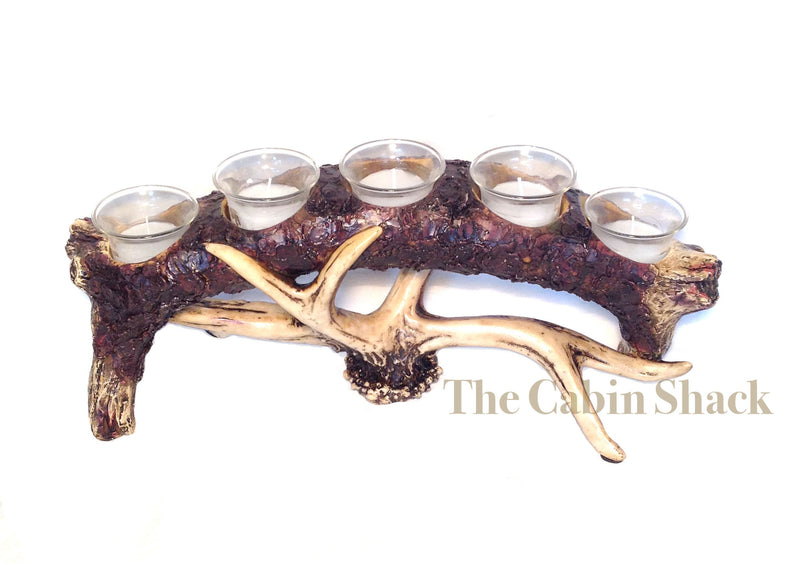 Cabin Decor - Antler Bark 5 Piece Candle Holder - The Cabin Shack
