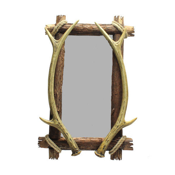 Antler and Bark Mirror for Rustic Decor | The Cabin Shack