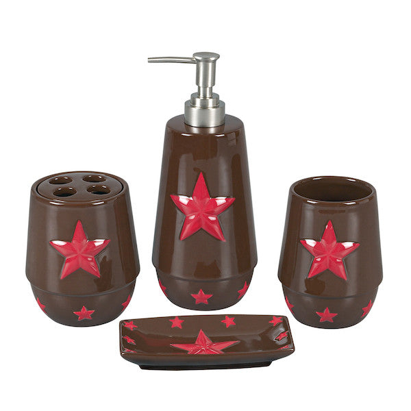 4PC Red Star Bathroom Set by HiEnd Accents | The Cabin Shack