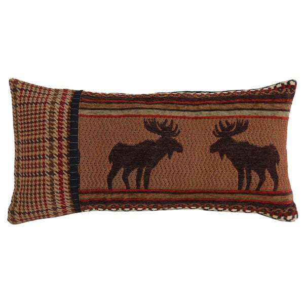 Bayfield Moose Rustic 11x21 Oblong Pillow | The Cabin Shack