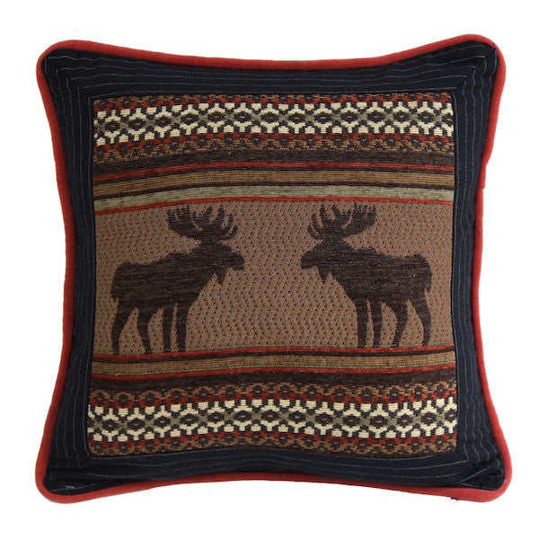Bayfield Moose Rustic 18x18 Square Pillow | The Cabin Shack