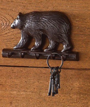 Cabin Decor - Cast Black Bear Key Hook - The Cabin Shack