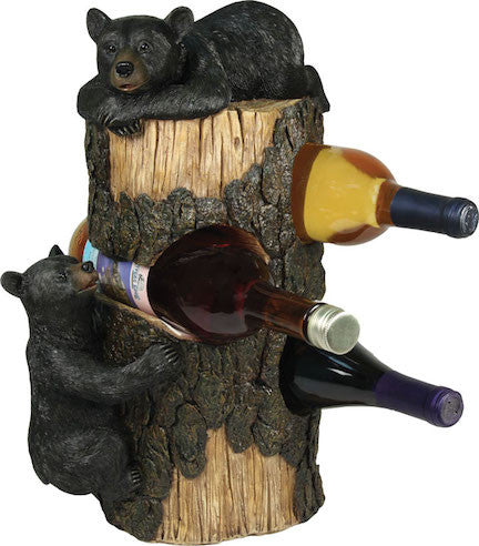 Black Bear Wine Holder | Bear Kitchen | The Cabin Shack