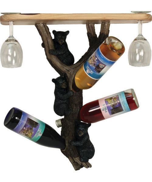 Bear Shelf with Glass and Wine Holder | The Cabin Shack