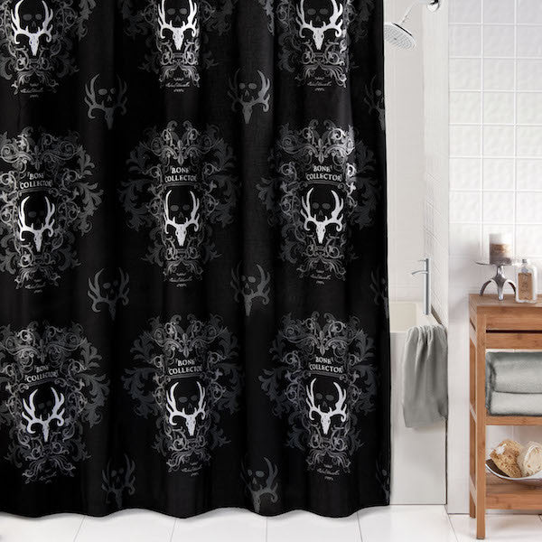 Bone Collector Black Shower Curtain | The Cabin Shack