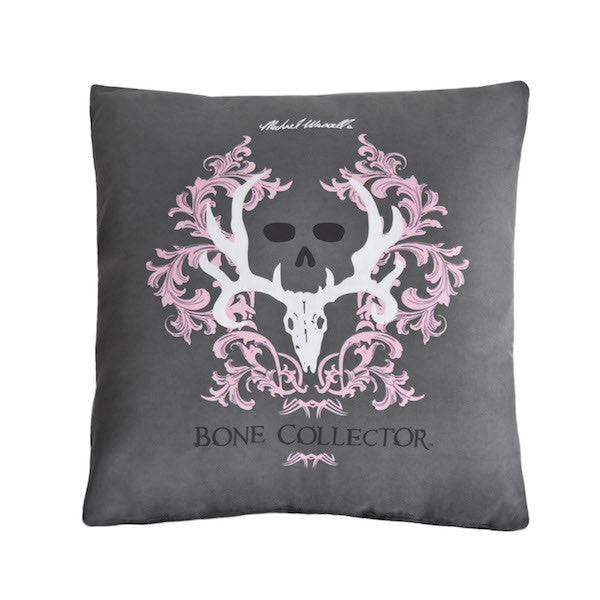 Bone Collector Pink | Gray Throw Pillow  | The Cabin Shack