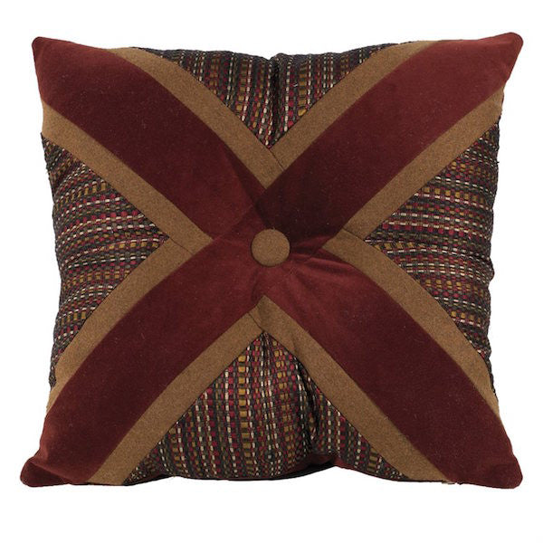 Briarcliff Rustic 18x18 Maroon X Throw Pillow | The Cabin Shack
