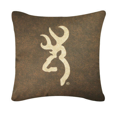 Browning Buckmark | Brown Throw Pillow | The Cabin Shack