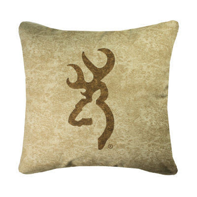 Browning Buckmark | Tan Throw Pillow | The Cabin Shack