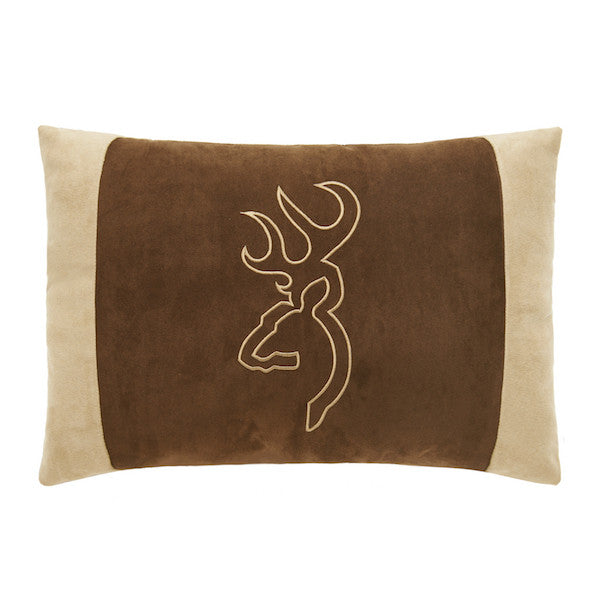 Buckmark Suede Throw Pillow | Oblong Brown | The Cabin Shack