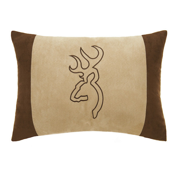 Buckmark Suede Throw Pillow | Oblong Tan | The Cabin Shack