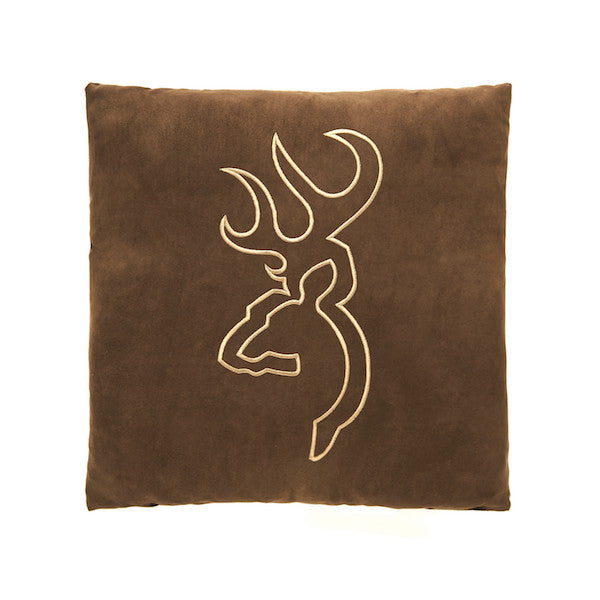 Buckmark Suede Throw Pillow | Brown | The Cabin Shack