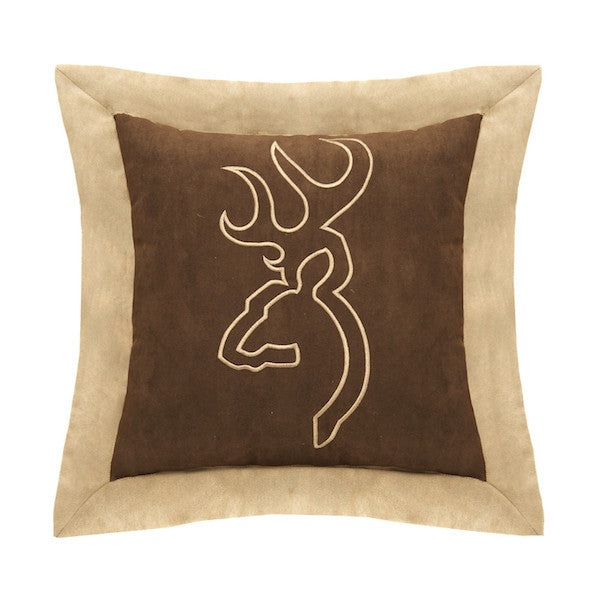 Buckmark Suede Brown Throw Pillow | Flange | The Cabin Shack