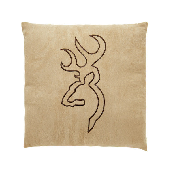 Buckmark Suede Throw Pillow | Tan | The Cabin Shack