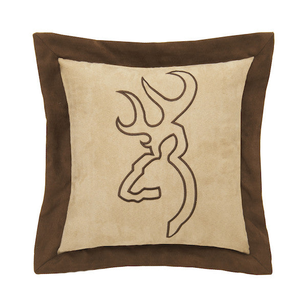 Buckmark Suede Tan Throw Pillow | Flange | The Cabin Shack