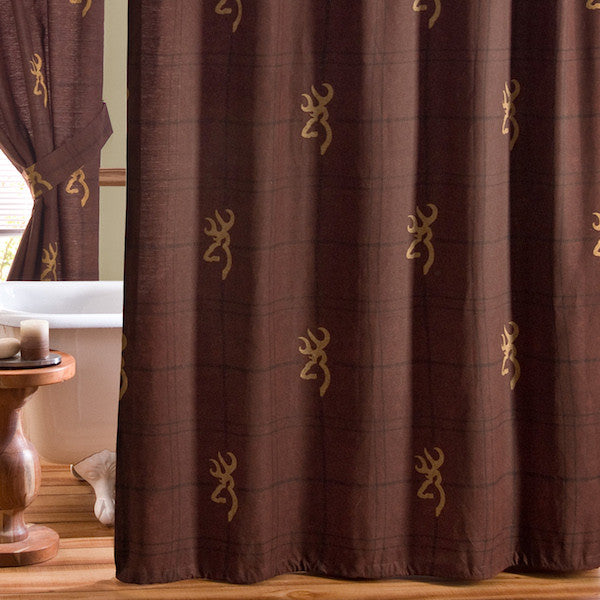 Browning Buckmark Burgundy Shower Curtain | The Cabin Shack