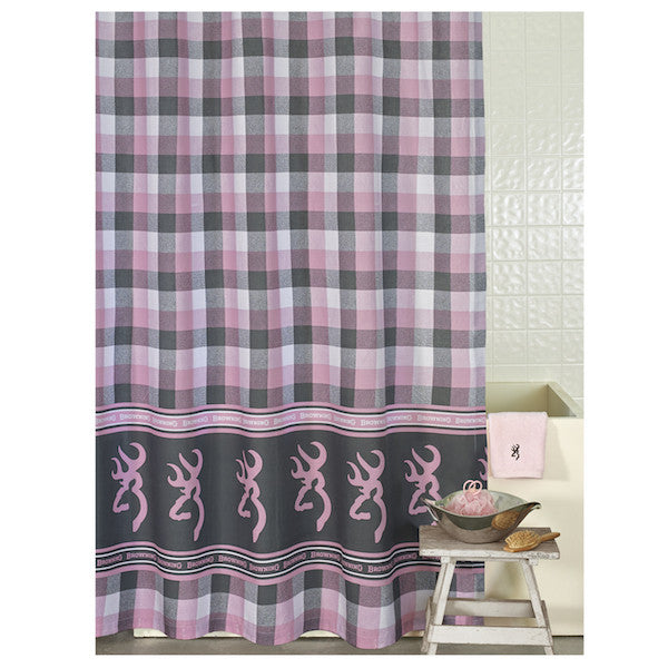 Browning Buckmark Plaid Shower Curtain | The Cabin Shack