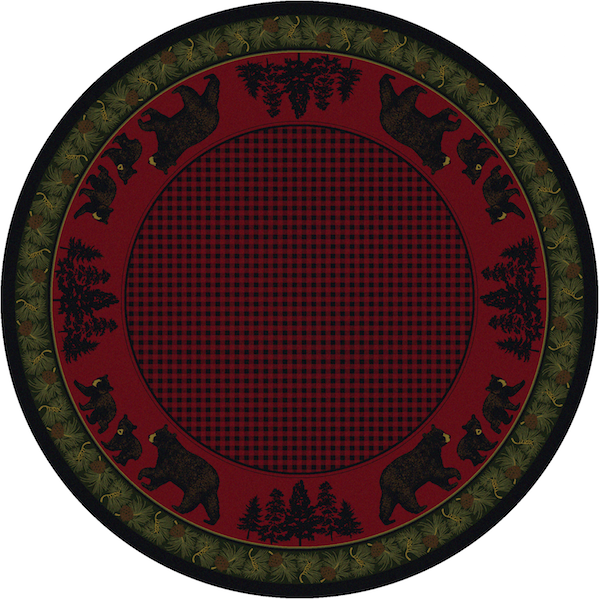 Cabin Rugs | Bear Family Multi Lodge Rug Round | The Cabin Shack