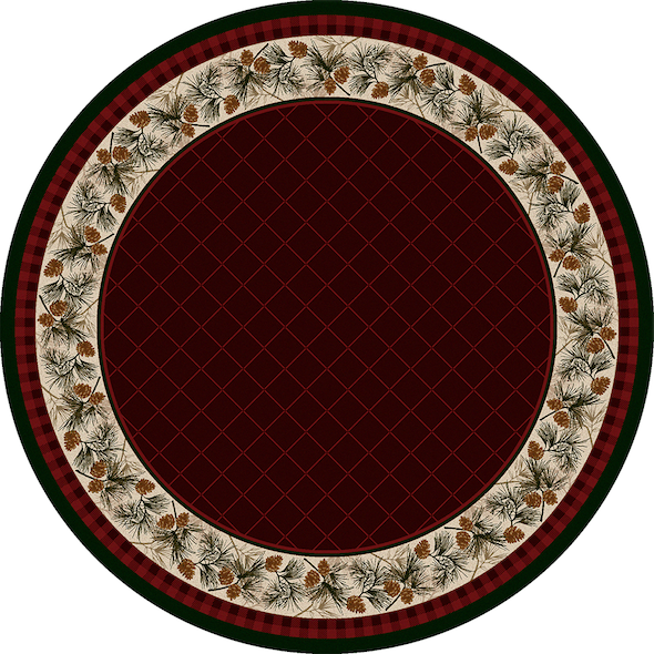 Cabin Rugs | Evergreen Garnet Lodge Rug Round | The Cabin Shack