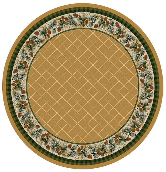 Cabin Rugs | Evergreen Maize Lodge Rug Round | The Cabin Shack