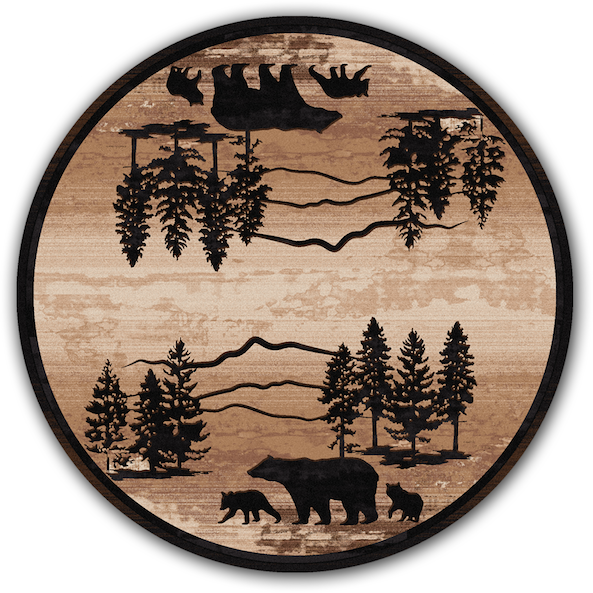 Cabin Rugs | Mountain Shadow Bear Lodge Rug Round | The Cabin Shack