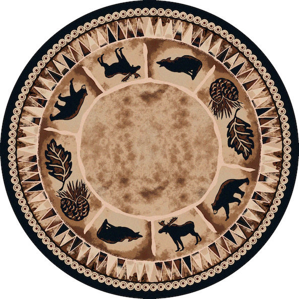 Cabin Rugs | Northern Wildlife Lodge Rug Round | The Cabin Shack