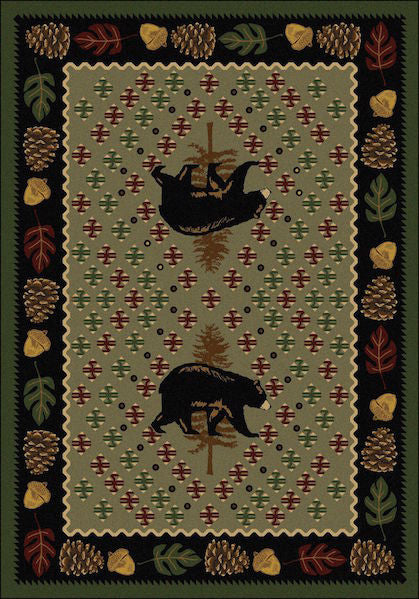 Cabin Rugs | Patchwork Bear Green Lodge Rug | The Cabin Shack