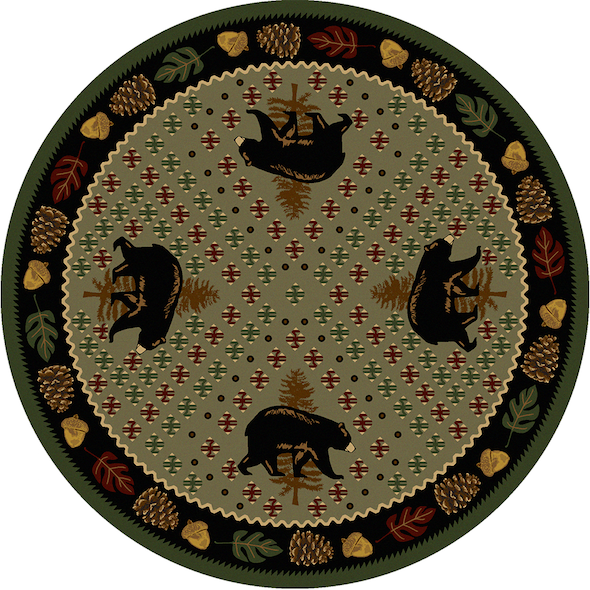 Cabin Rugs | Patchwork Bear Green Lodge Rug Round | The Cabin Shack