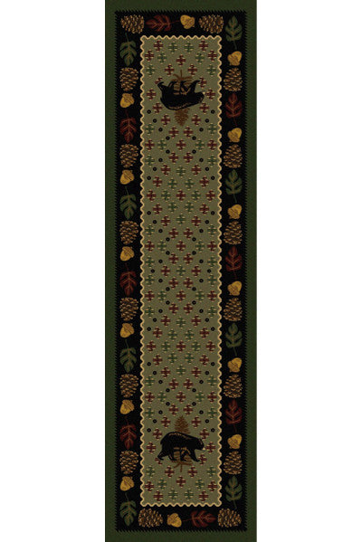 Cabin Rugs | Patchwork Bear Green Lodge Rug Runner | The Cabin Shack
