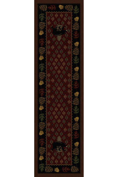 Cabin Rugs | Patchwork Bear Red Lodge Rug Runner | The Cabin Shack
