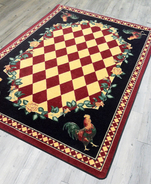 Rooster Kitchen Red Rustic Lodge Rug | The Cabin Shack