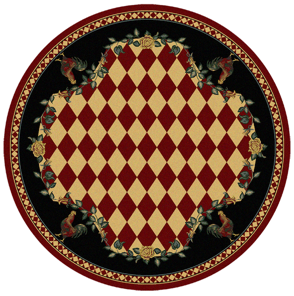 Rooster Kitchen Red Rustic Lodge Rug Round | The Cabin Shack