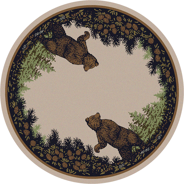 Cabin Rugs | Twin Bears Lodge Rug Round | The Cabin Shack