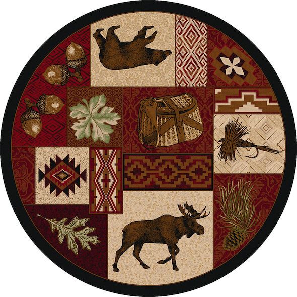 Cabin Rugs | Wildlife Picnic Lodge Rug Round | The Cabin Shack