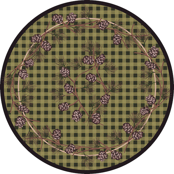 Cabin Rugs | Wooded Pines Green Lodge Rug Round | The Cabin Shack