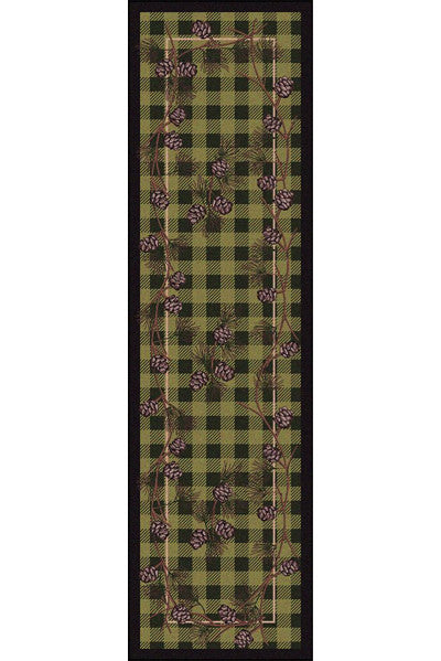 Cabin Rugs | Wooded Pines Green Lodge Rug Runner | The Cabin Shack