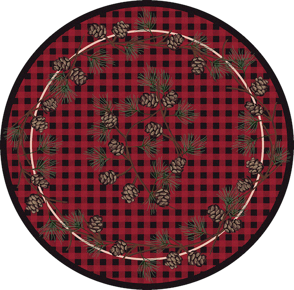 Cabin Rugs | Wooded Pines Red Lodge Rug Round | The Cabin Shack