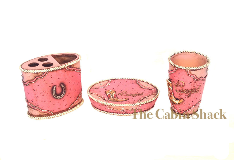 Cabin Decor - Pink Western Cowgirl 3 Piece Bathroom Set - The Cabin Shack