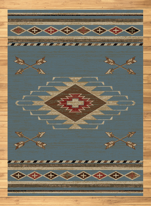 Cross Arrows Blue Rug | Rugs For Sale Outlet