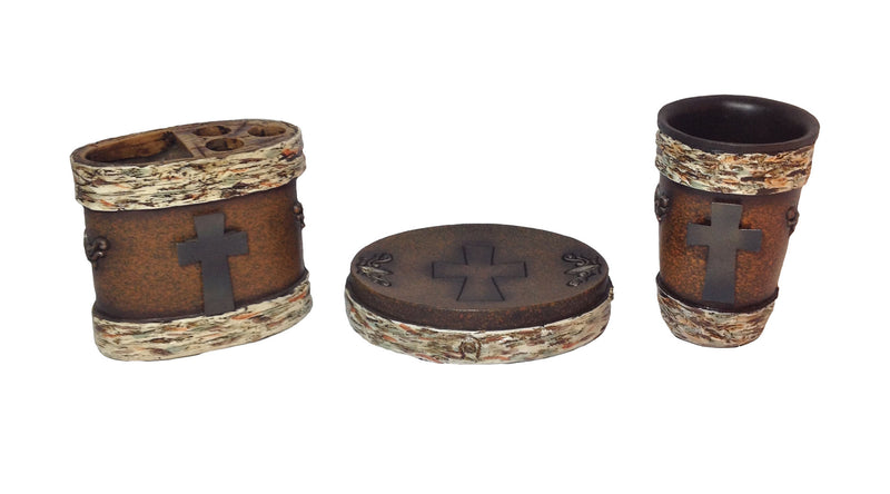 Cabin Decor - Birch and Metal Cross Bathroom Set - The Cabin Shack