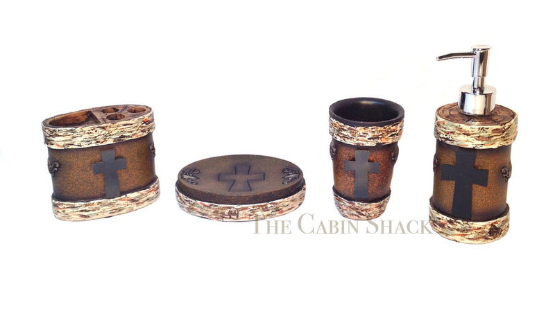 Cabin Decor - Birch and Metal Cross Bathroom Set - Discounted - The Cabin Shack