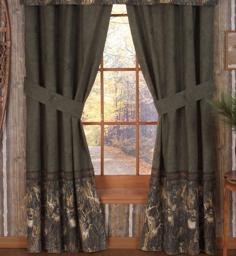 Cabin Decor - Browning Whitetails Rod Pocket Curtains - The Cabin Shack
