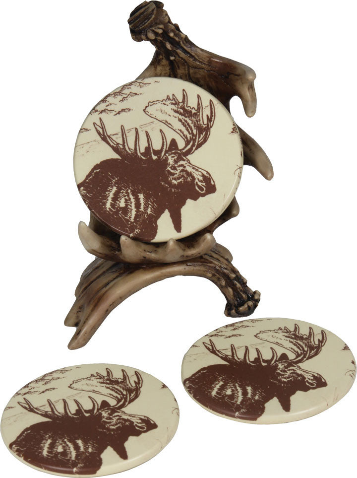 Cabin Decor - 4 Piece Moose Antler Coaster Set - The Cabin Shack