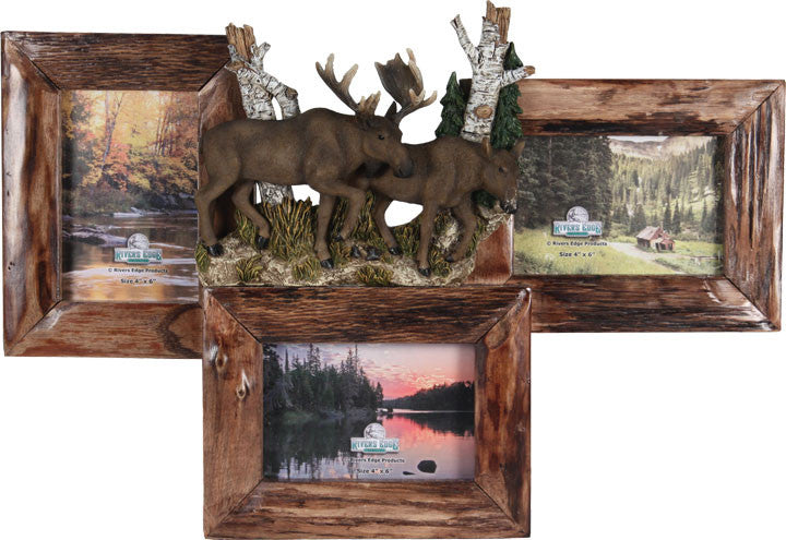 Cabin Decor - 3 Picture Firwood Moose Frame - The Cabin Shack