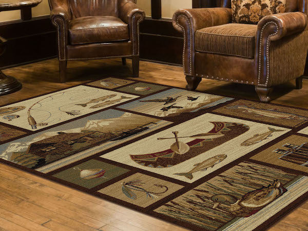 Shadow Mountain Lake Rustic Lodge Rugs | The Cabin Shack