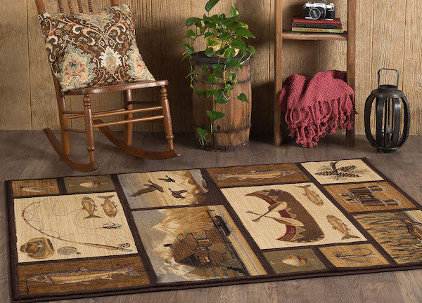 Shadow Mountain Lake Rustic Lodge Rug | The Cabin Shack