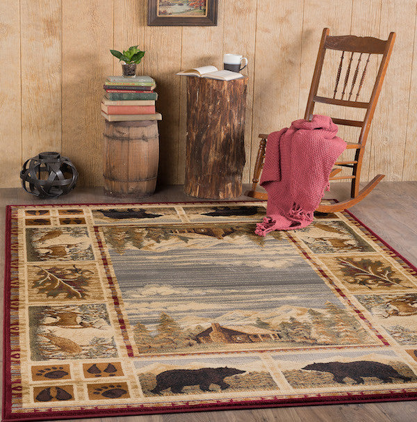 Mountain View Rustic Lodge Rugs | The Cabin Shack